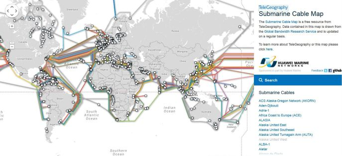 Interactive map of undersea fiber-optic cables | IS301 com